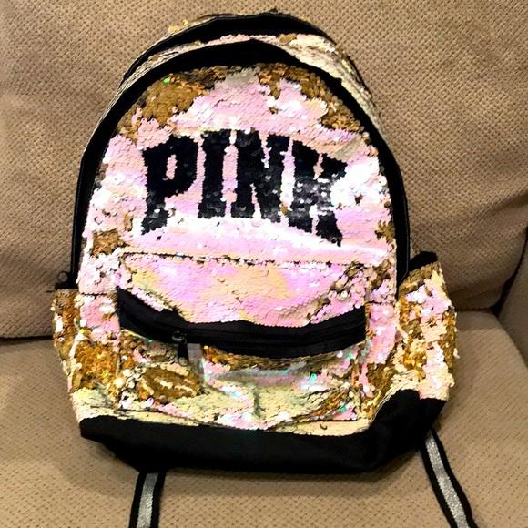 Sequined Pink brand backpack pink/gold/black